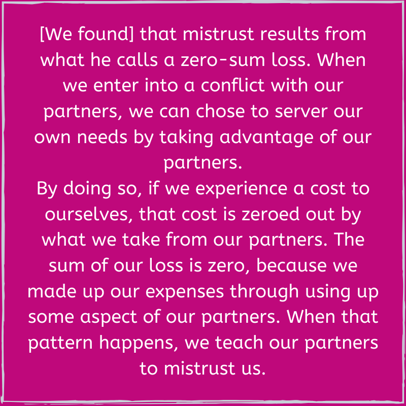 Mistrust results from zero sum loss